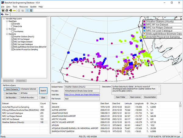 An image from the Beaufort Sea Engineering Database illustrating some datasets relevant to planning offshore operations in Canadian waters
