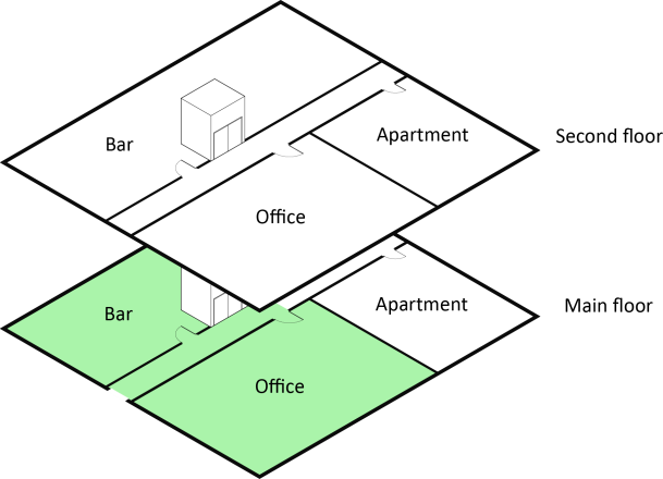 Drawing of occupancies in two floors of a building (Bar, Office, Apartment on each floor).  Main floor sections marked 'Bar' and 'Office' are shaded green