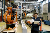 Image of a Gantry system with industrial robots