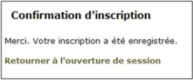Figure 4 : Écran de confirmation de l'inscription