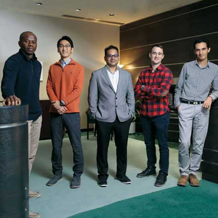 Post-doctoral fellows, from left to right: Frank Billy Djupkep Dizou, Jeongwan Jin, Sharif Sadaf, Darin Bleomberg and Jalal Norooz Oliaee.