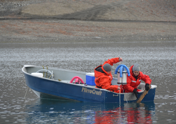Researchers studying water from a boat