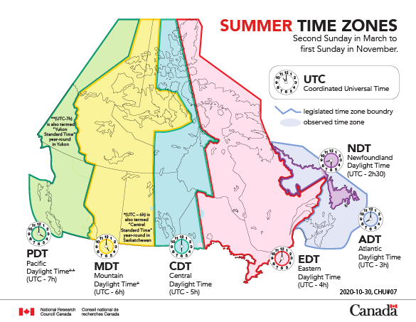 Canada Map Of Time Zones Time zones and daylight saving time